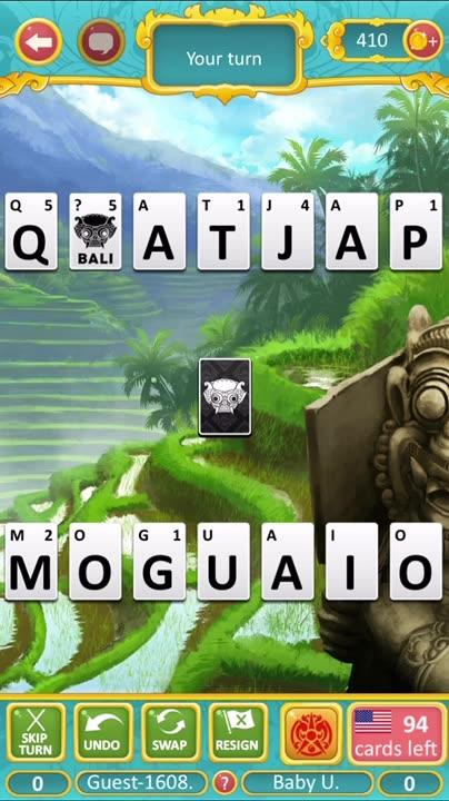 Unique word gameplay