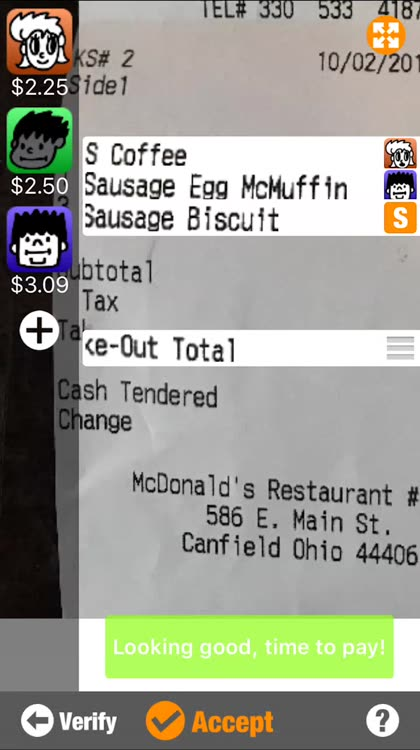 Set the tip amount, group diners together, and pay