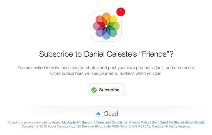 Shared iCloud Photos invite