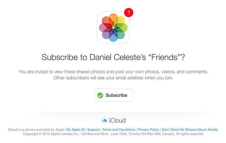 Shared iCloud Photos invite