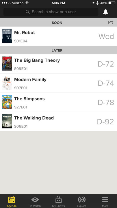Along with an iOS app, there is also a companion Web site for TVShow Time.