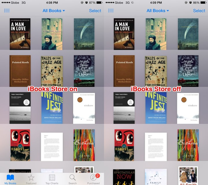 With the iBooks Store disabled, the Featured, Top Charts, Search and Purchased tabs are gone.