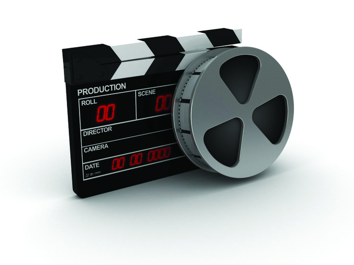 Clapperboard film reel