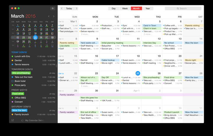 Fantastical 2 for Mac's Month view.