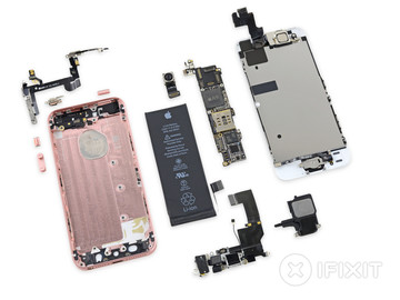 An iPhone SE teardown shows many shared parts with other models