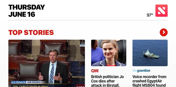 Apple News is sporting a new design in iOS 10.