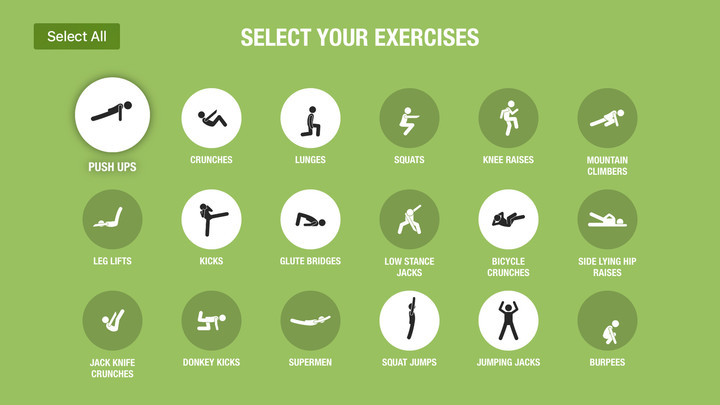 You can select a number of different exercises.