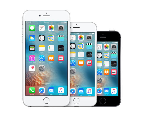 Apple's current iPhone lineup: the iPhone 6s Plus, the iPhone 6s, and the iPhone SE.