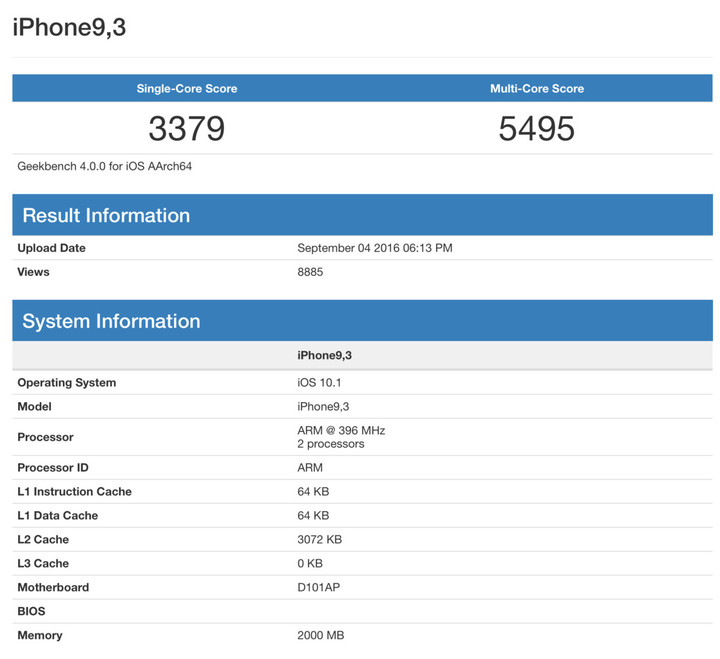 "Purported ""iPhone 7"" Geekbench Results"