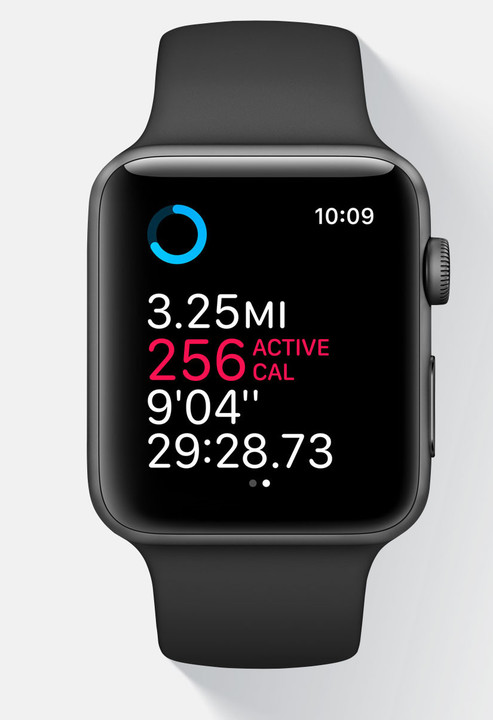 The Workout app shows more information on your watch face.