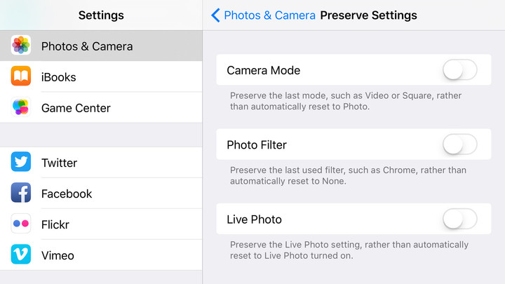 One of the new features allow users to preserve camera settings.