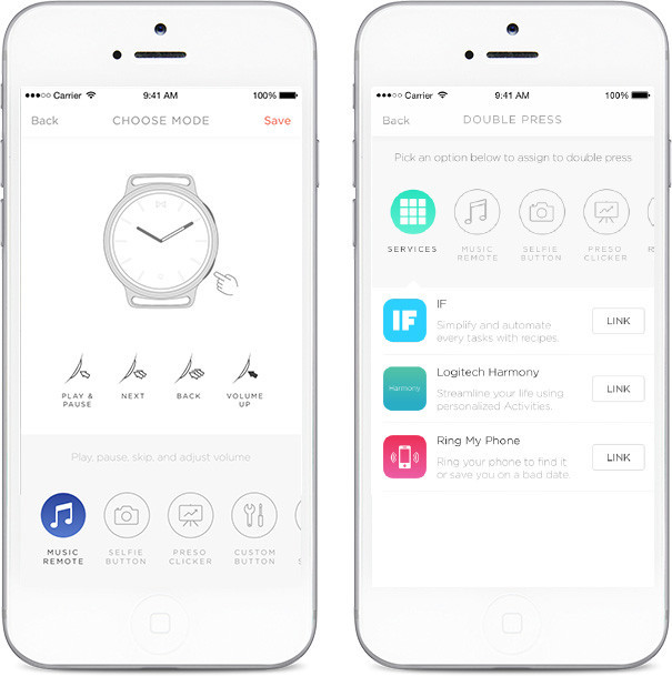 The watch can also be used to interact with services like IFTTT and Logitech's Harmony.