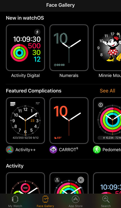 See what's new and other faces in the Face Gallery tab of the Watch app.