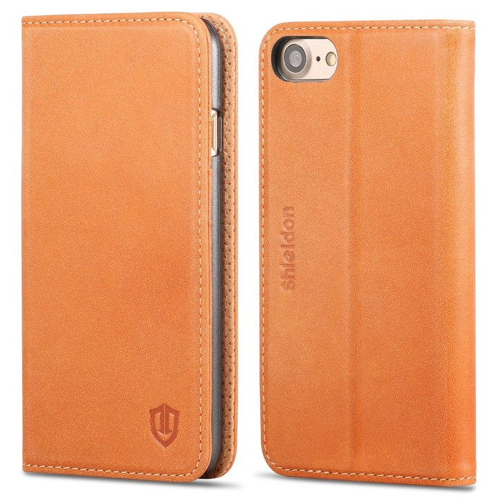 SHIELDON Genuine Leather iPhone 7 Wallet Case
