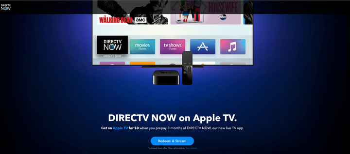 Prepay for three months of any DirecTV now and receive a free, fourth-generation Apple TV. That's a great offer if you still haven't made the move to Apple's latest streaming device.