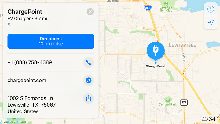 You can view ChargePoint locations and get directions using Apple Maps.