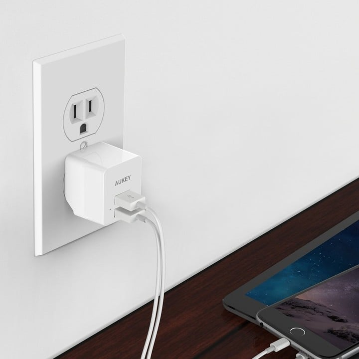 AUKEY Dual USB Wall Charger in White