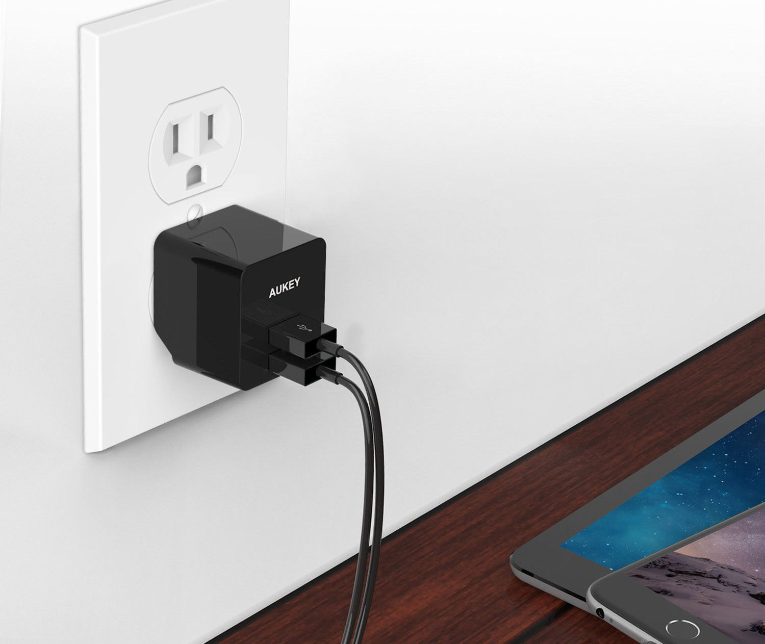 photo image This AUKEY Dual USB Wall Charger with Foldable Plug is Half Off