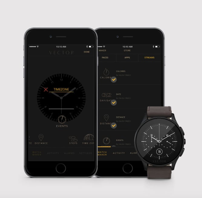 While featuring a more classical design, Vector watches are compatible with the iPhone and offer a number of different apps.