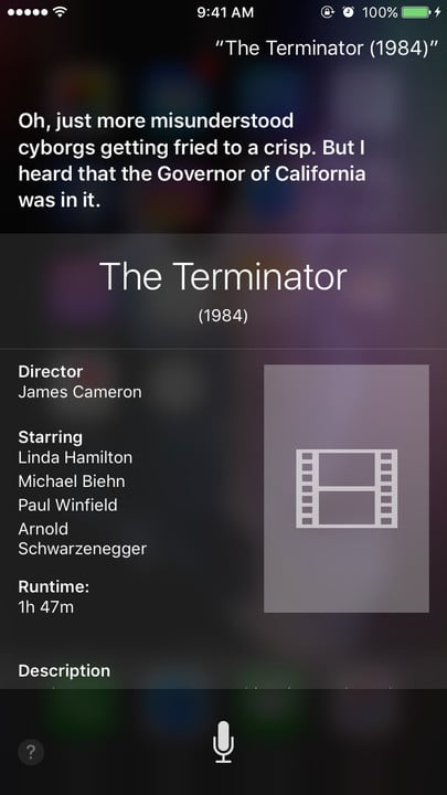 Siri movie Easter eggs The Terminator
