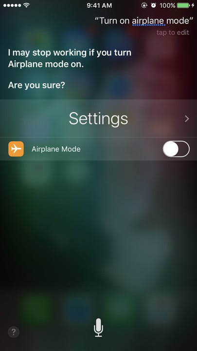 Siri change settings Airplane Mode