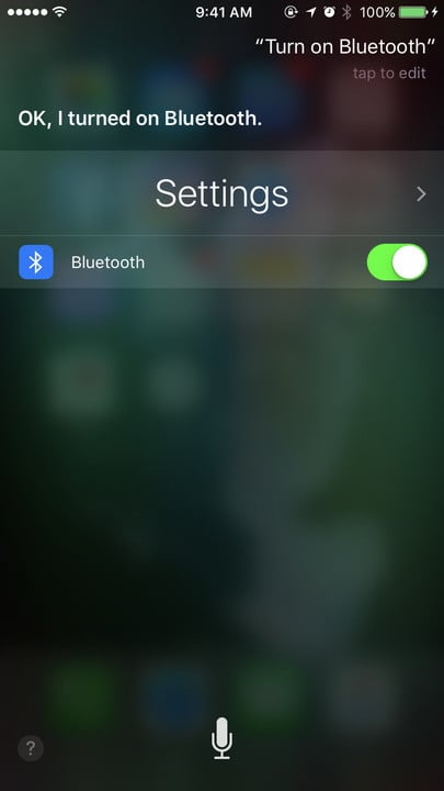 Siri change settings Bluetooth