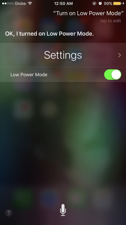 Siri change settings Low Power Mode
