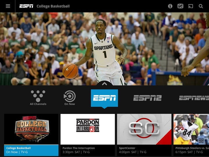 Along with the Apple TV, Sling TV is available on the iPhone, iPad, and Web.
