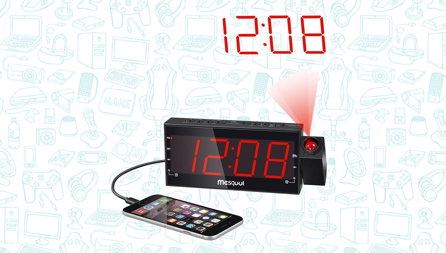 Get this Funky Projection Clock with Built-In iPhone Charger for $20