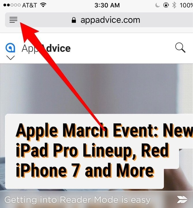 Safari's Reader Mode is just a tap away.