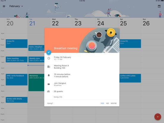 Google Calendar for iPad 2