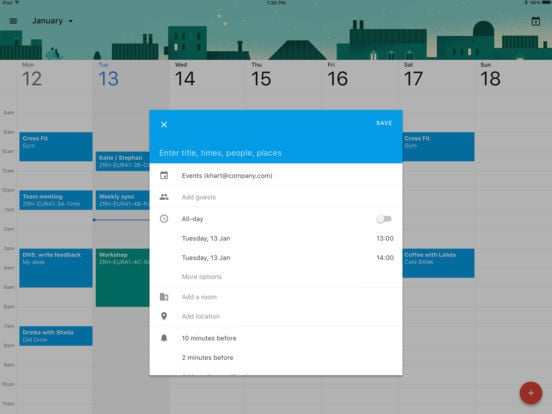 Google Calendar for iPad 3
