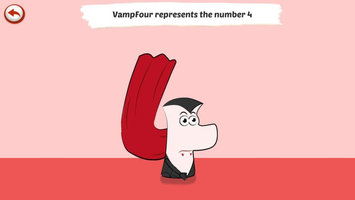 Each number is represented by a fun character. You can try out the number 4 for free.