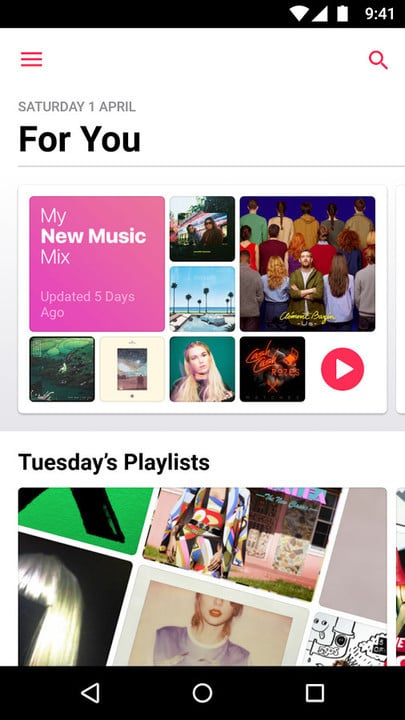 Apple Music for Android For You