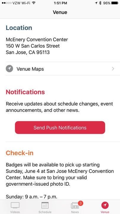 The new Venue tab is the place to see new information about the McEnery Convention Center in San Jose, California.