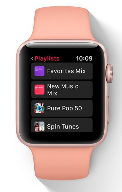 With the new software, Apple Music playlists will now automatically sync to your Apple Watch.