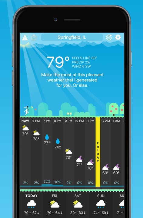 The main screen of the app has been redesigned to show much more weather information.