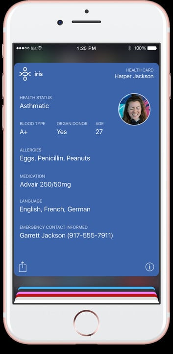 The medical detail card in Iris provides plenty of details to doctors and nurses