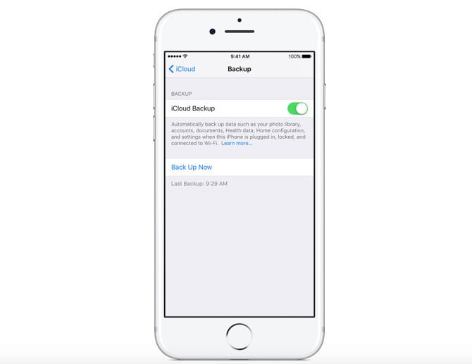 You can back up through iCloud on an iPhone/iPad or through iTunes.