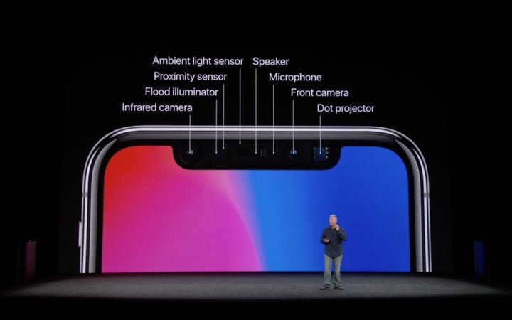 The components of Apple's Face ID hardware in the iPhone X