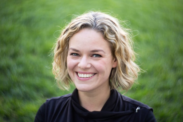 An example of a portrait photo (of Katherine Maher). Note the 'swirly' bokeh.