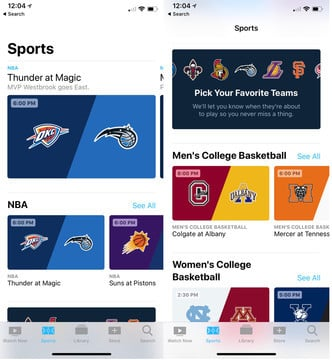 A New Sports Section Arrives in Apple's TV App in iOS 11.2, tvOS 11.2
