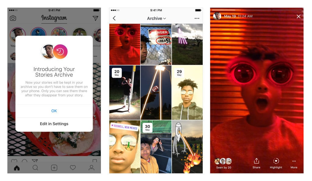 Instagram Launches Stories Archive and Stories Highlights