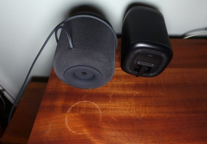 The Sonos One can leave similar white marks on some wood furniture.