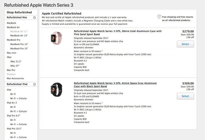 Refurbished Apple Watch Series 3 available with $50 off