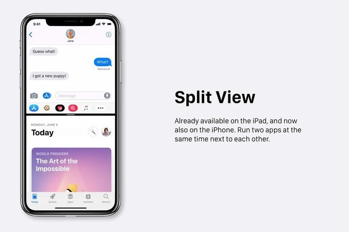 The concept imagines a Split View mode coming to the iPhone.