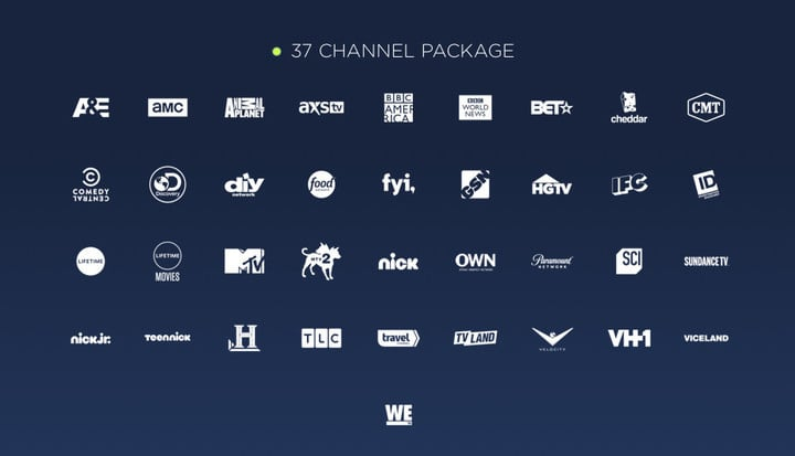 The channel lineup available for $16 per month
