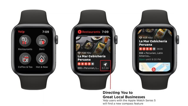 Yelp Now Takes Advantage of the Compass on Apple Watch Series 5